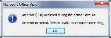 visio error 920 al s tech tips an error 920 occurred during the