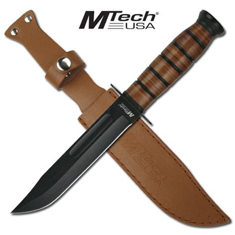 Kitchen Knives Ratings 12 quot mtech combat knife with wood handle amp leather sheath