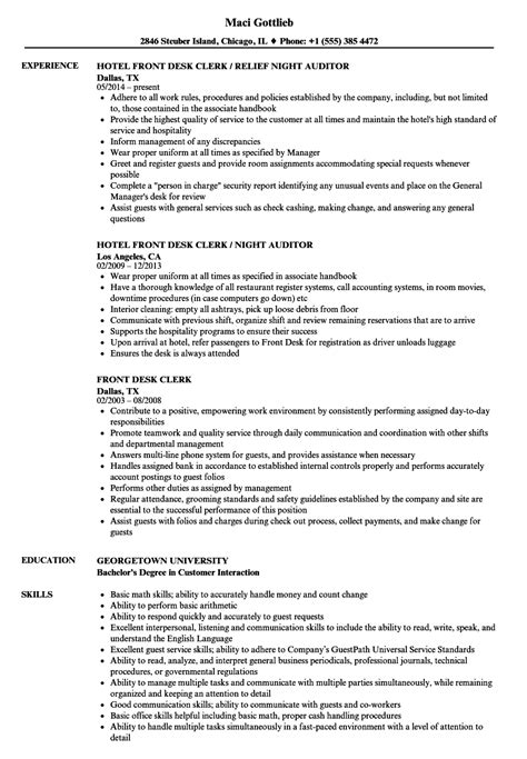 Front Desk Clerk Resume by Front Desk Clerk Resume Sles Velvet