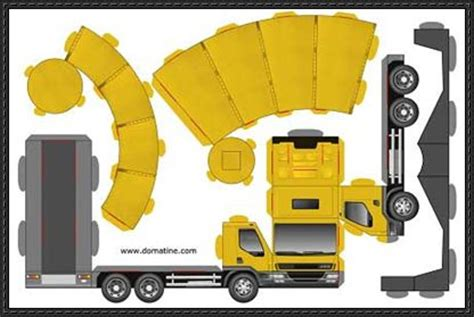 Papercraft Truck - simple papercraft glue less truck free paper model