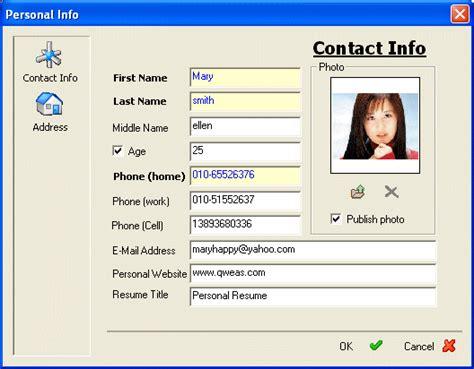 Resume Personal Information Section Write Resume Resume Builder Screenshots