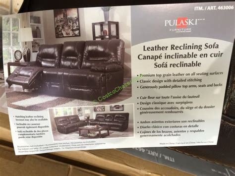 pulaski leather sofa costco pulaski furniture leather reclining sofa model 155 2475