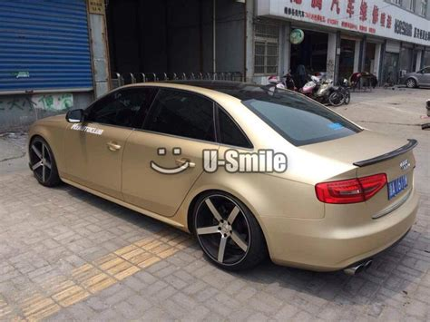 gold glitter car premium chagne gold satin matte metallic vinyl wrap