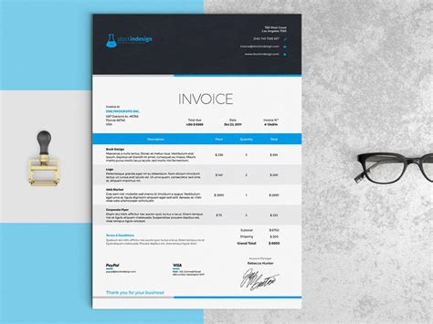 invoice template indesign invoice template indesign template