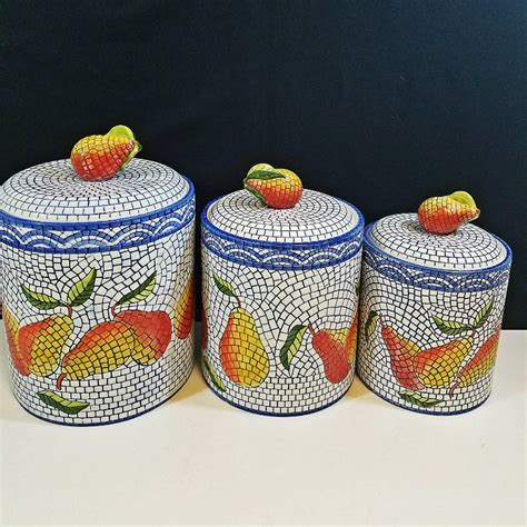 Large Mosaic Canister clay mosaic pear canister set