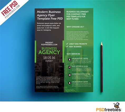 blue company poster psd file free download regarding free flyer