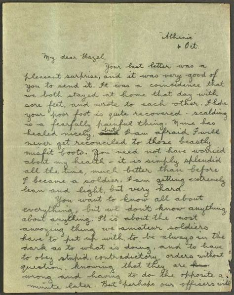 1 Page Essay Describe How Ww1 Was A Costly And Global War by Letter To Hazel 4 Oct 1914 Cecil Malthus World War I Papers Letters Telegrams