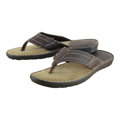 slip in sandals mens real leather brown flip flops toe post slip
