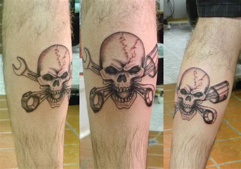 skull and piston tattoos skull piston wrench by space drive overdose on