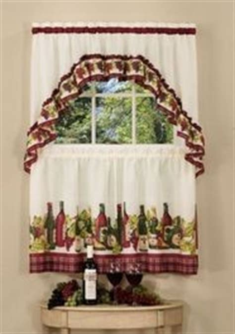 wine bottle kitchen curtains chardonnay complete tier swag set 24 quot l kitchen curtain