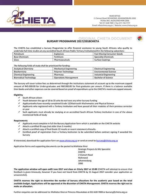 bursary application letter south africa chemical industries education authority 2017