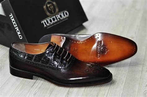 Handmade Designer Shoes - tuccipolo troy tp handmade genuine crocodile with brown