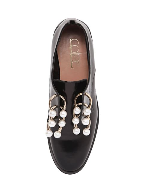 coliac faux pearl embellished leather shoes in black lyst