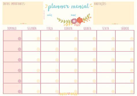 Calendario Mensal Planner Mensal Calend 225 Para Organiza 231 227 O Pessoal