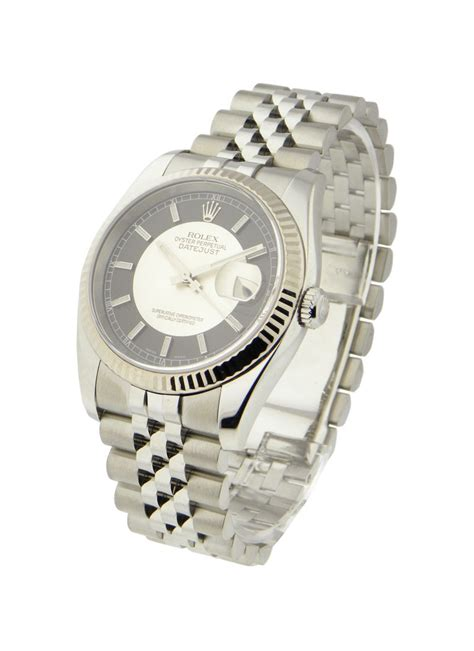 Rolex Datejust Silver Black Matic 116234 used black silver rolex datejust 36mm steel with jubilee wg fluted bezel new style