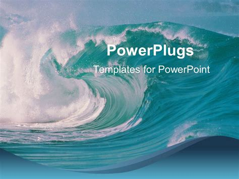 powerpoint template ocean waves crashing beach blue sky
