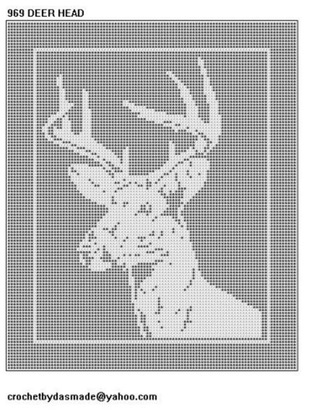 filet crochet patterns for home decor 969 deer head filet crochet doily afghan pattern