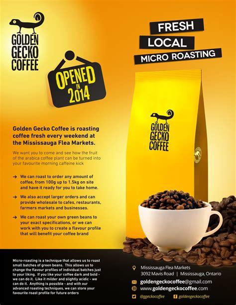 Bold, Modern Flyer Design for Golden Gecko Coffee by