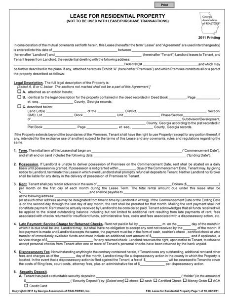 lease agreement form free residential lease agreement pdf template