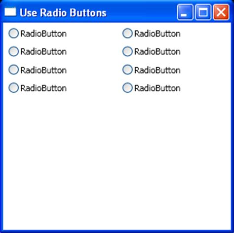 tutorial java radio button use stackpanel to hold radiobuttons radiobutton