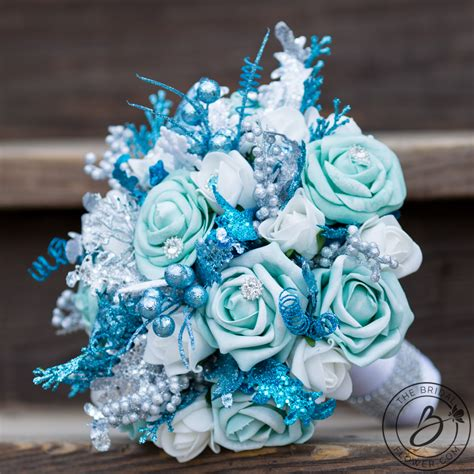 frozen inspired blue and white winter bouquet