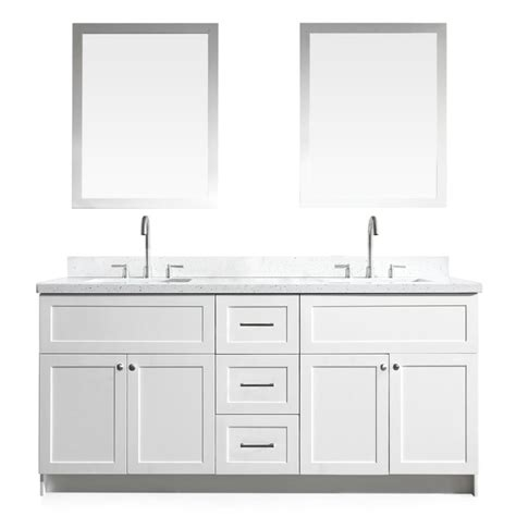 ariel hamlet 73 in bath vanity in white with quartz