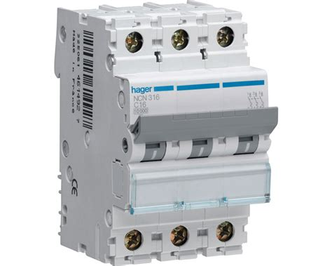 Mcb Hager Mini Circuit Breaker Hager Type Mu 3p 10a 3x10a ndn316a hager 16 10ka mcb type d pole sparkydirect co uk
