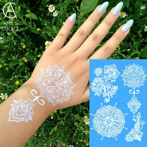 henna metallic temporary tattoo waterproof metallic gold silver white temporary for