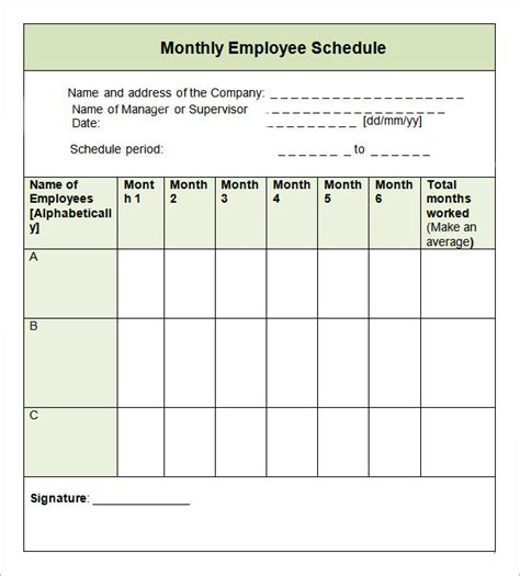 employee monthly schedule template sle monthly schedule template 8 free documents in