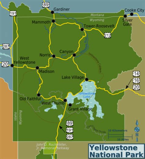 map of yellowstone national park yellowstone national park map images