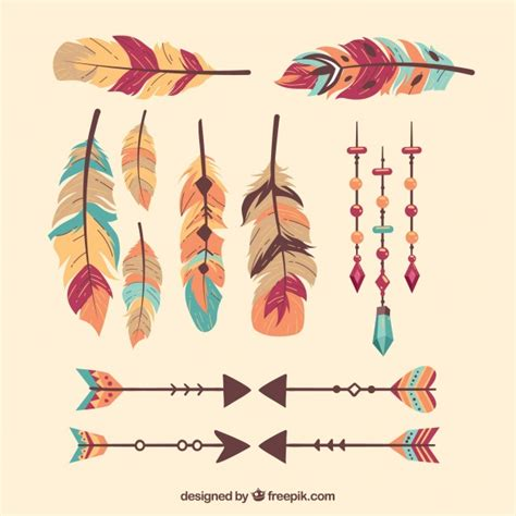 Fashion Pack Boho boho pack of feathers and arrows vector free