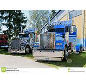 PORVOO FINLAND  JUNE 28 2014 Two American Vintage Kenworth Heavy