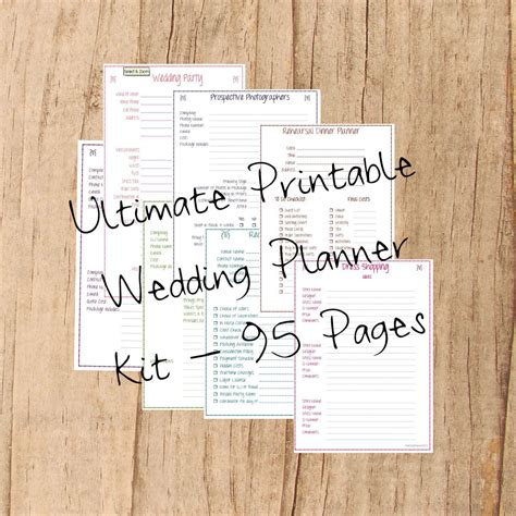 ultimate printable wedding planner wedding planner printable wedding planner kit 95 pages
