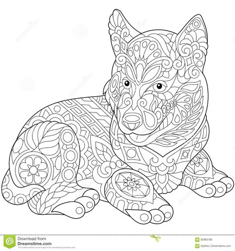 siberian husky coloring book stress relief coloring book for grown ups animal coloring book books zentangle stylized husky stock vector image 82893786