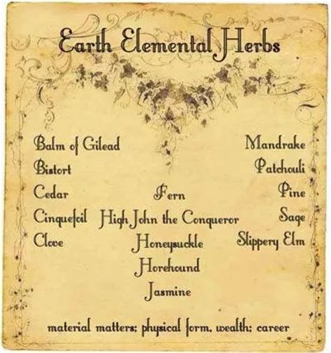 the chosen witch the coven elemental magic books earth elemental herbs printable spell page witches of