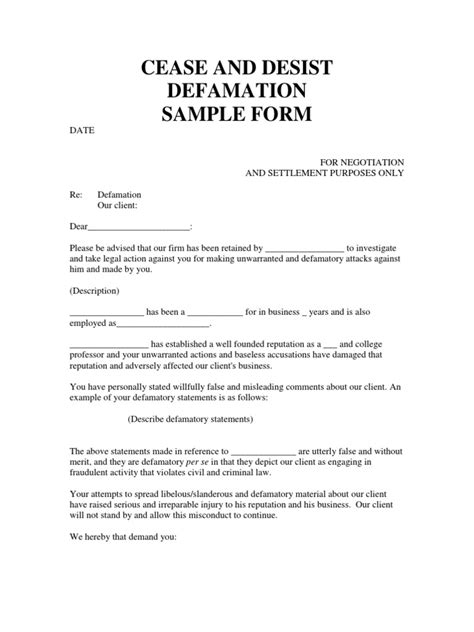 ceast desist defamation sample form defamation