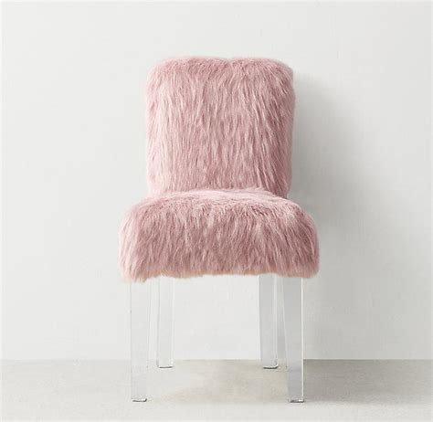 Faux Fur Desk Stool by Pink Faux Fur Cabriole Legs Desk Chair Pinup Pink Faux