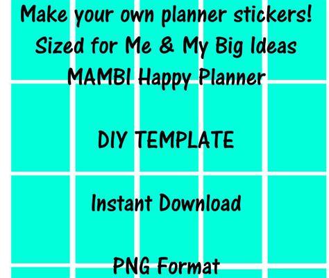 Mambi Me My Big Ideas Happy Planner Sticker Template Instant Happy Planner Template