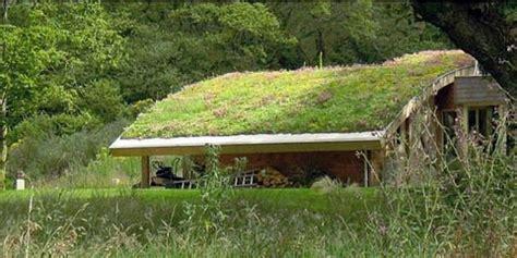 green roof garden house exterior in green interior