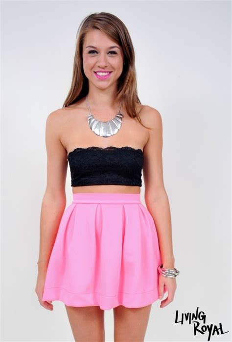 pink mini skirt neon pink high waisted skater ustrendy
