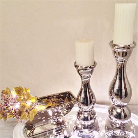 stand kerzenleuchter ceramic candlestick holder silver white lantern candle