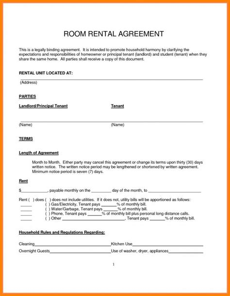 rent a room agreement template free room rental agreement pdf template business