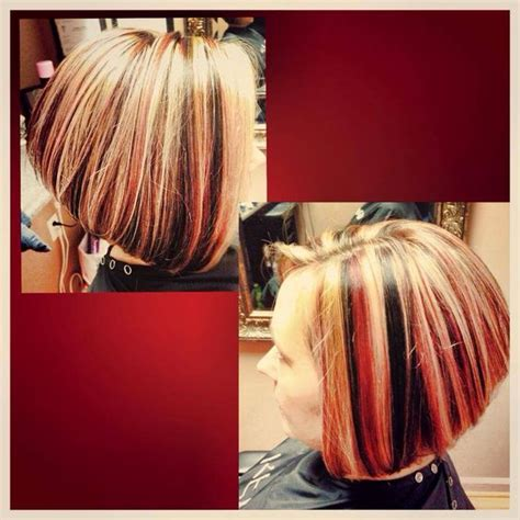 sculptured dimensional hair cut inverted bob red black and highlights on pinterest