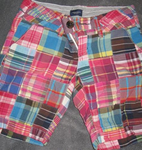 Womens Madras Patchwork Shorts - american eagle patchwork madras plaid bermuda shorts 0