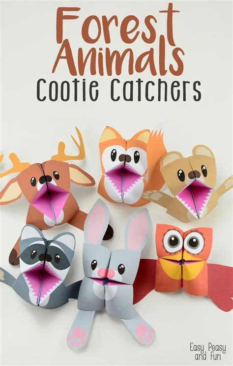 forest animals cootie catchers origami for easy