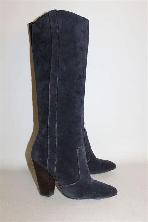 ash blue suede high heel slip on knee high