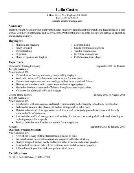 Freight Broker Sle Resume by Best Sales Freight Associate Resume Exle Livecareer