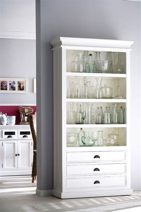 Belgravia Bookcase white painted wooden bookcase with 3 drawers belgravia painted