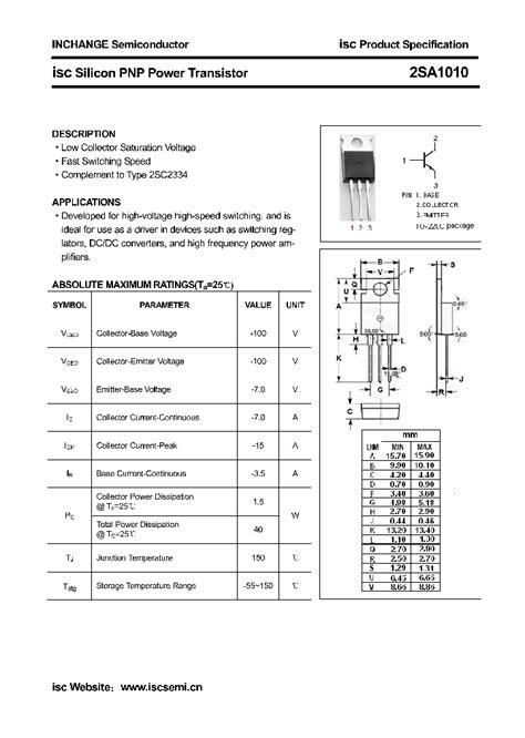 transistor c2073 voltage 2sa1010 4324472 pdf datasheet ic on line