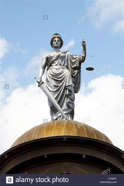 San Marcos Justice Court Search Statue Of Justice On Top Of Copper Dome Of 1908 Hays County Stock Photo Royalty Free